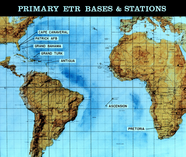 A view of a map illustrating the primary Eastern Test Range (ETR) bases and stations