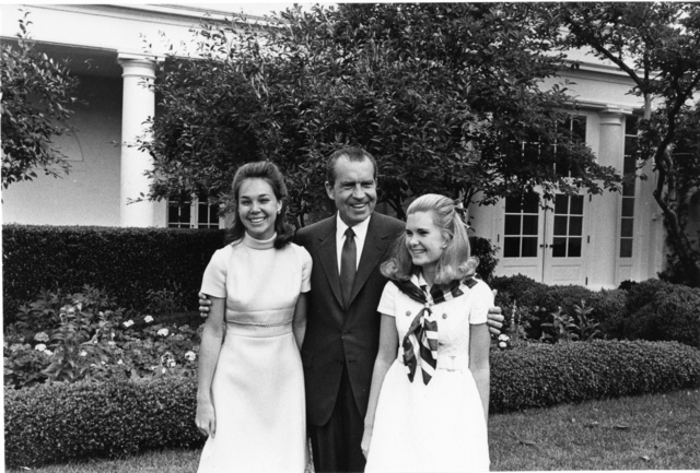 Richard Nixon and his Daughters Tricia Nixon and Julie Eisenhower on Father's Day