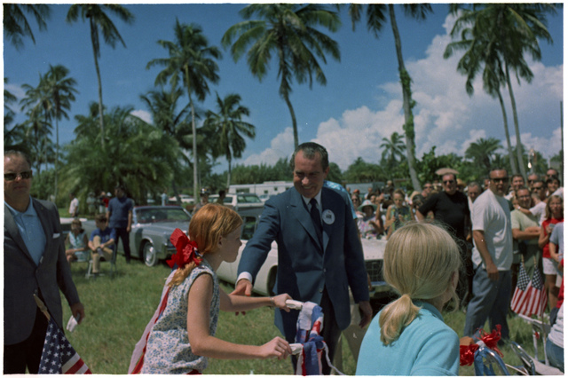 President Nixon Greeting Children on the Crandon Boulevard Fourth of July Parade Route in Key Biscayne, Florida