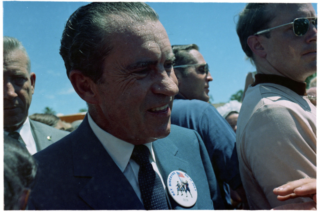 President Nixon Standing in the Crowd along the Route of the Crandon Boulevard Fourth of July Parade in Key Biscayne, Florida