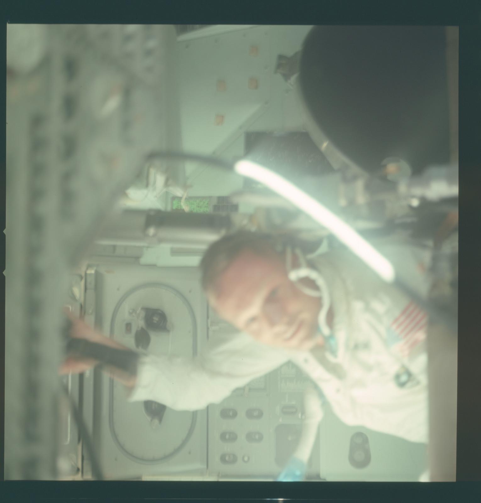 AS11-36-5388 - Apollo 11 - Apollo 11 Mission image - Astronaut inside the Lunar Module