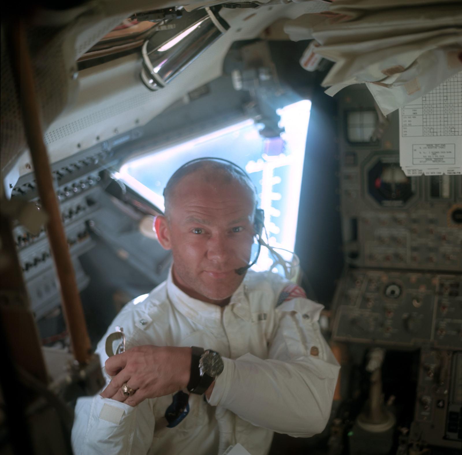 AS11-36-5390 - Apollo 11 - Apollo 11 Mission image - Astronaut Edwin E. Aldrin inside the Lunar Module