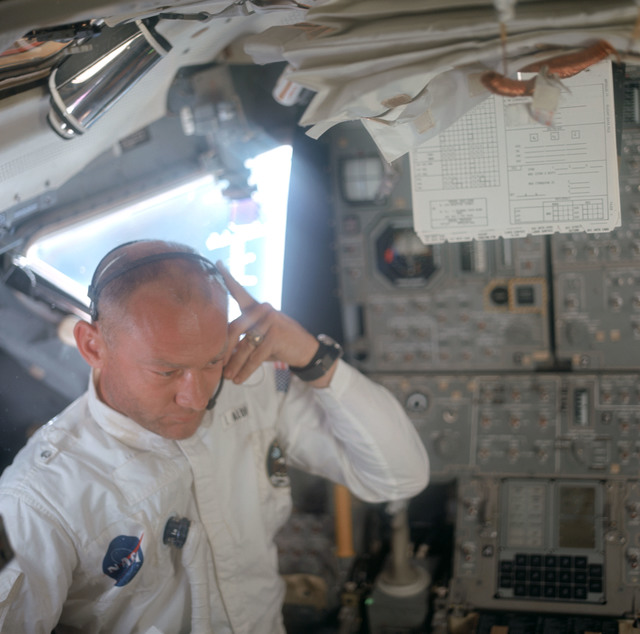 AS11-36-5391 - Apollo 11 - Apollo 11 Mission image - Astronaut Edwin E. Aldrin inside the Lunar Module
