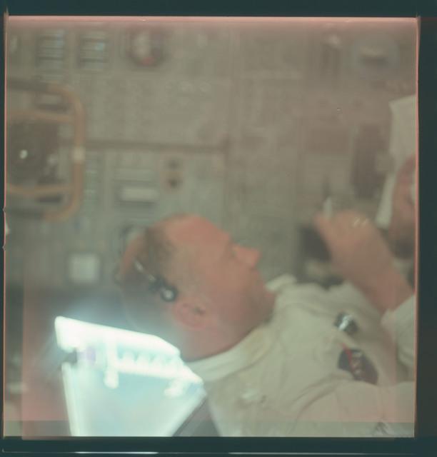 AS11-36-5393 - Apollo 11 - Apollo 11 Mission image - Astronaut Edwin E. Aldrin inside the Lunar Module