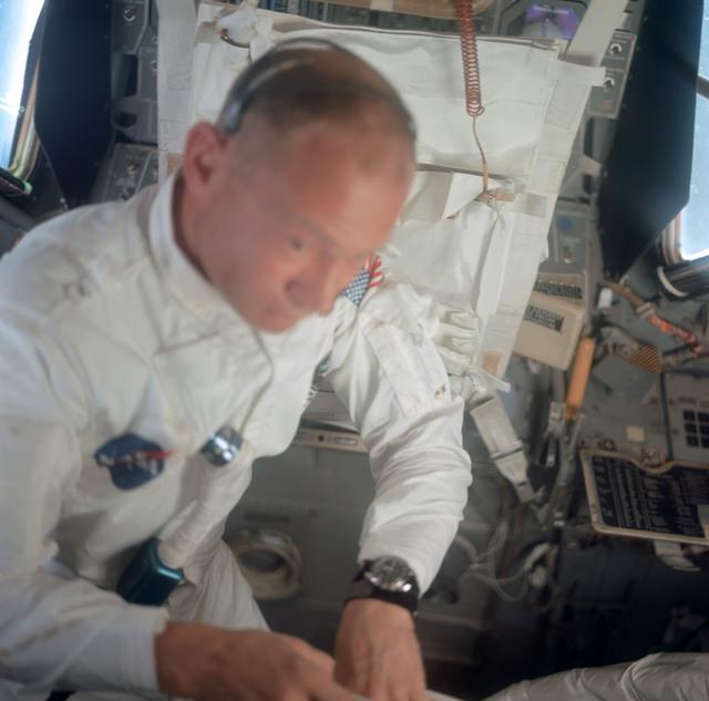 AS11-36-5396 - Apollo 11 - Apollo 11 Mission image - Astronaut Edwin E. Aldrin inside the Lunar Module