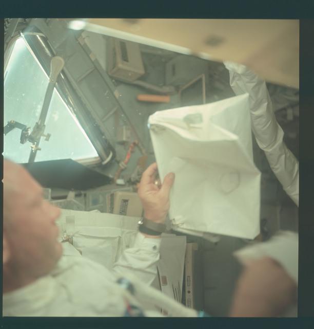 AS11-36-5397 - Apollo 11 - Apollo 11 Mission image - Astronaut Edwin E. Aldrin inside the Lunar Module