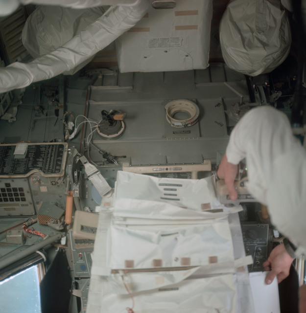 AS11-36-5399 - Apollo 11 - Apollo 11 Mission image - Astronaut Edwin E. Aldrin inside the Lunar Module