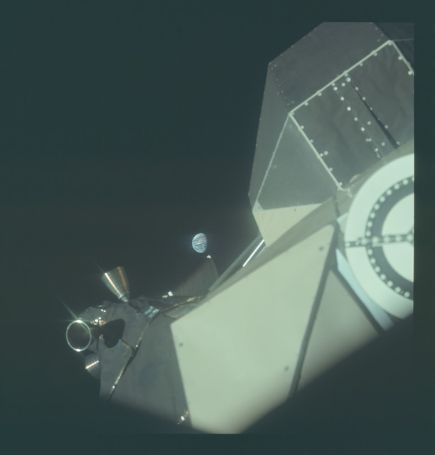 AS11-36-5403 - Apollo 11 - Apollo 11 Mission image - Lunar Module (LM) Docking Target and Earth view