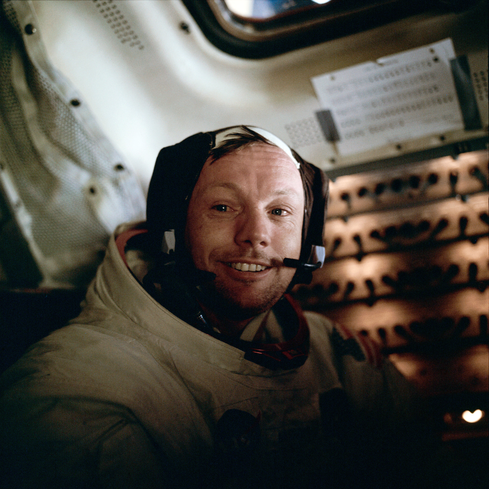 AS11-37-5528 - Apollo 11 - Apollo 11 Mission image - Neil A. Armstrong inside the Lunar Module after EVA