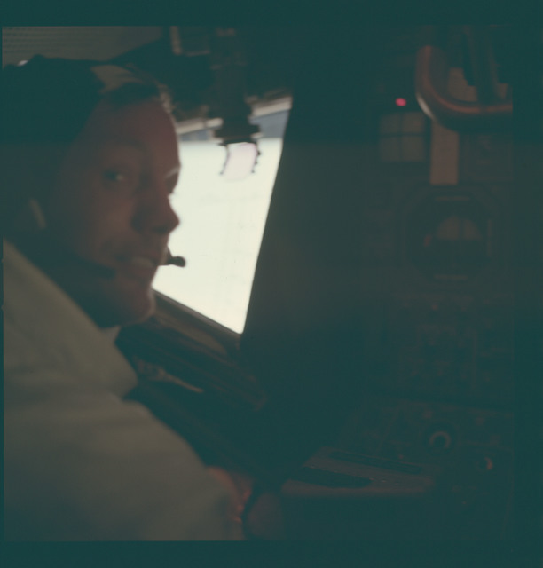 AS11-37-5529 - Apollo 11 - Apollo 11 Mission image - Neil A. Armstrong inside the Lunar Module after EVA