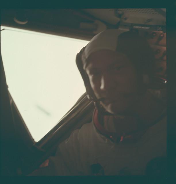 AS11-37-5530 - Apollo 11 - Apollo 11 Mission image - Edwin Aldrin Jr. inside the Lunar Module after EVA