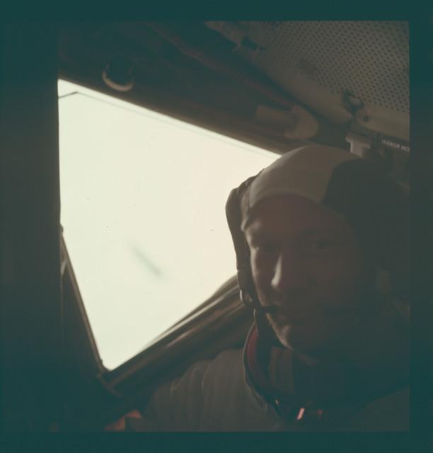AS11-37-5531 - Apollo 11 - Apollo 11 Mission image - Edwin Aldrin Jr. inside the Lunar Module after EVA