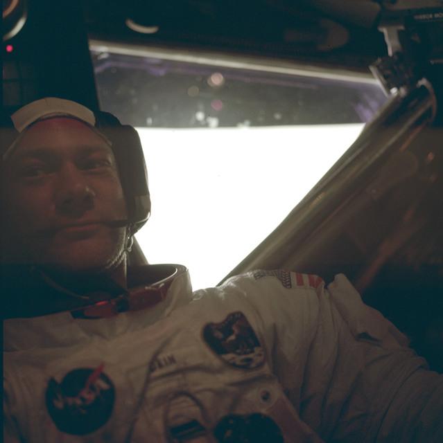 AS11-37-5534 - Apollo 11 - Apollo 11 Mission image - Edwin Aldrin Jr. inside the Lunar Module after EVA