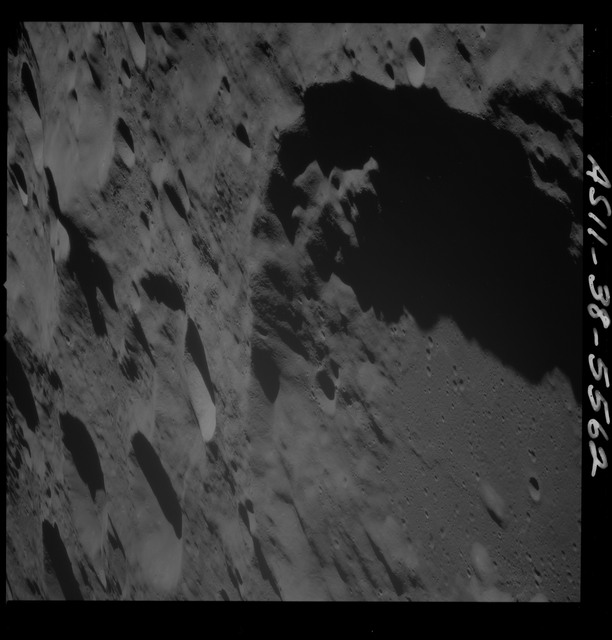 AS11-38-5562 - Apollo 11 - Apollo 11 Mission image - View of Moon, southern portion of Crater 308