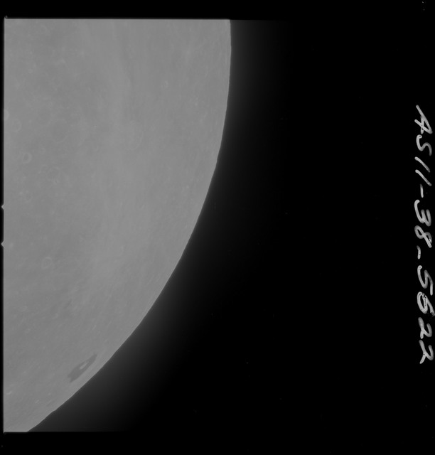 AS11-38-5622 - Apollo 11 - Apollo 11 Mission image - Partial view of Moon after Transearth Insertion