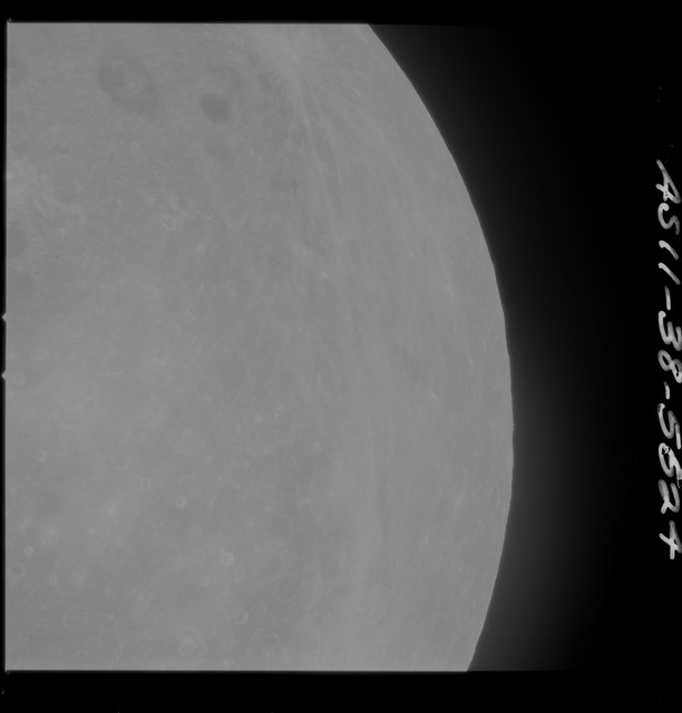 AS11-38-5624 - Apollo 11 - Apollo 11 Mission image - Partial view of Moon after Transearth Insertion