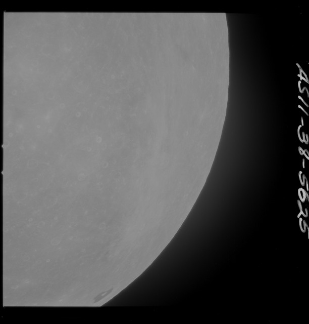 AS11-38-5625 - Apollo 11 - Apollo 11 Mission image - Partial view of Moon after Transearth Insertion