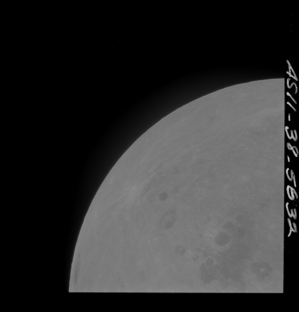 AS11-38-5632 - Apollo 11 - Apollo 11 Mission image - Partial view of Moon after Transearth Insertion
