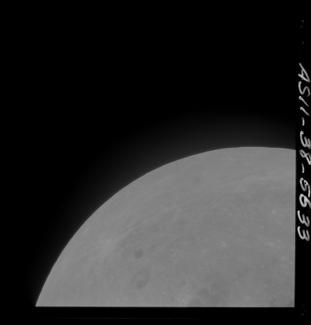 AS11-38-5633 - Apollo 11 - Apollo 11 Mission image - Partial view of Moon after Transearth Insertion