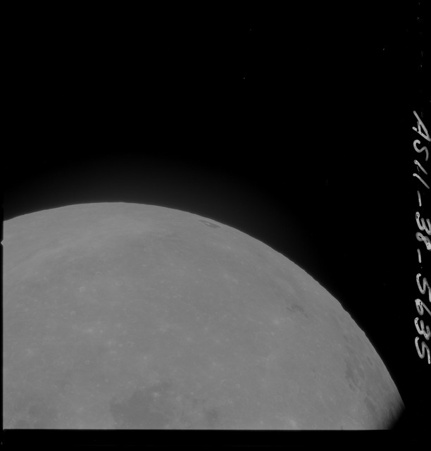 AS11-38-5635 - Apollo 11 - Apollo 11 Mission image - Partial view of Moon after Transearth Insertion
