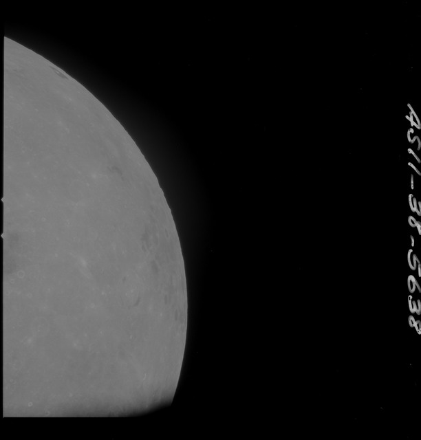 AS11-38-5638 - Apollo 11 - Apollo 11 Mission image - Partial view of Moon after Transearth Insertion