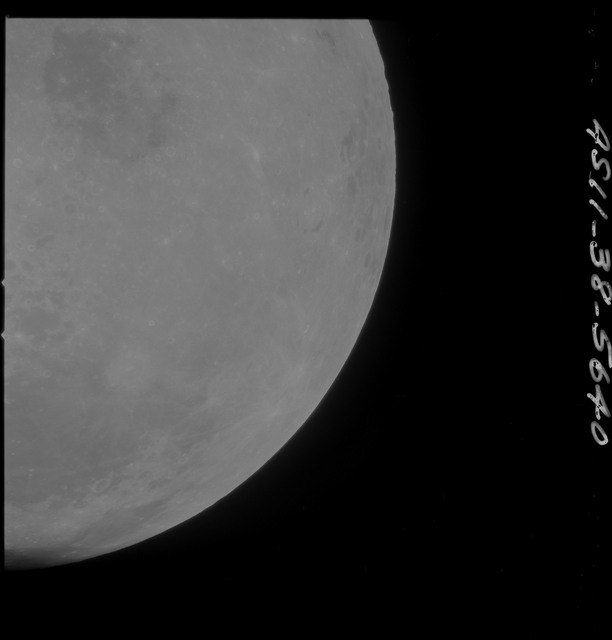 AS11-38-5640 - Apollo 11 - Apollo 11 Mission image - Partial view of Moon after Transearth Insertion