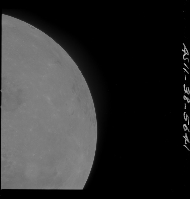 AS11-38-5641 - Apollo 11 - Apollo 11 Mission image - Partial view of Moon after Transearth Insertion