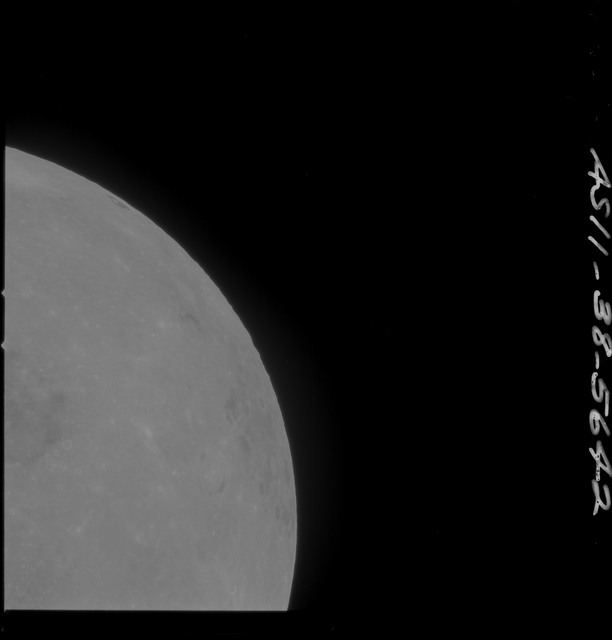 AS11-38-5642 - Apollo 11 - Apollo 11 Mission image - Partial view of Moon after Transearth Insertion