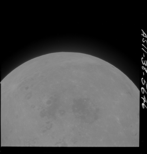 AS11-38-5646 - Apollo 11 - Apollo 11 Mission image - Partial view of Moon after Transearth Insertion