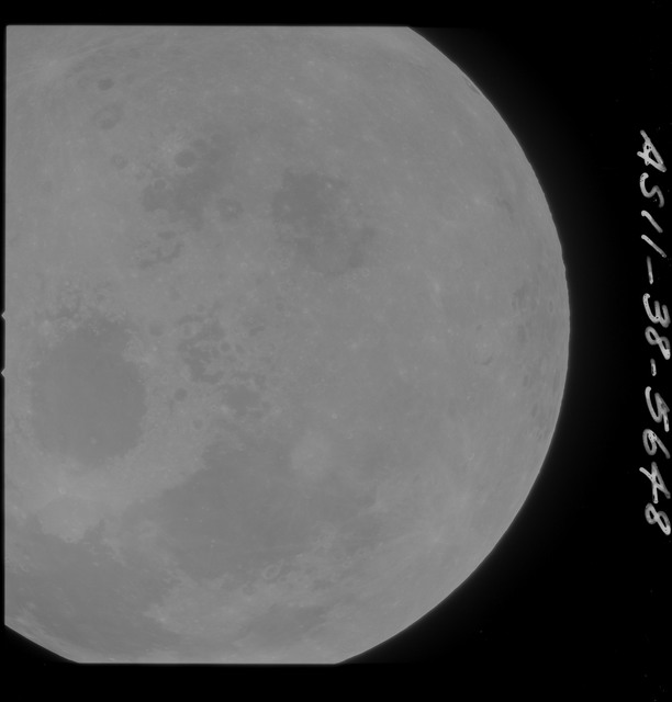 AS11-38-5648 - Apollo 11 - Apollo 11 Mission image - Partial view of Moon after Transearth Insertion