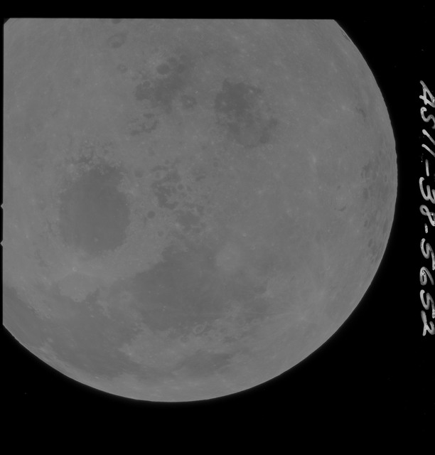 AS11-38-5652 - Apollo 11 - Apollo 11 Mission image - Partial view of Moon after Transearth Insertion