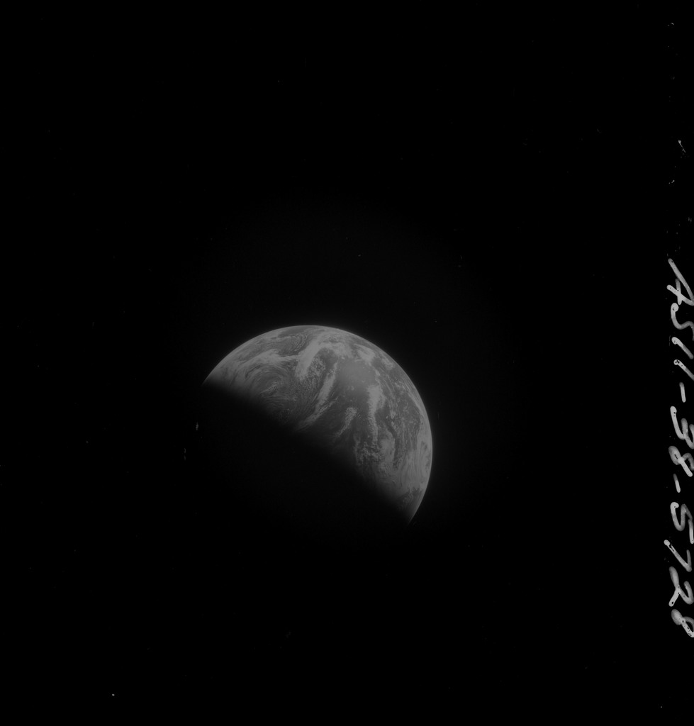AS11-38-5728 - Apollo 11 - Apollo 11 Mission image - View of Earth after Transearth Insertion