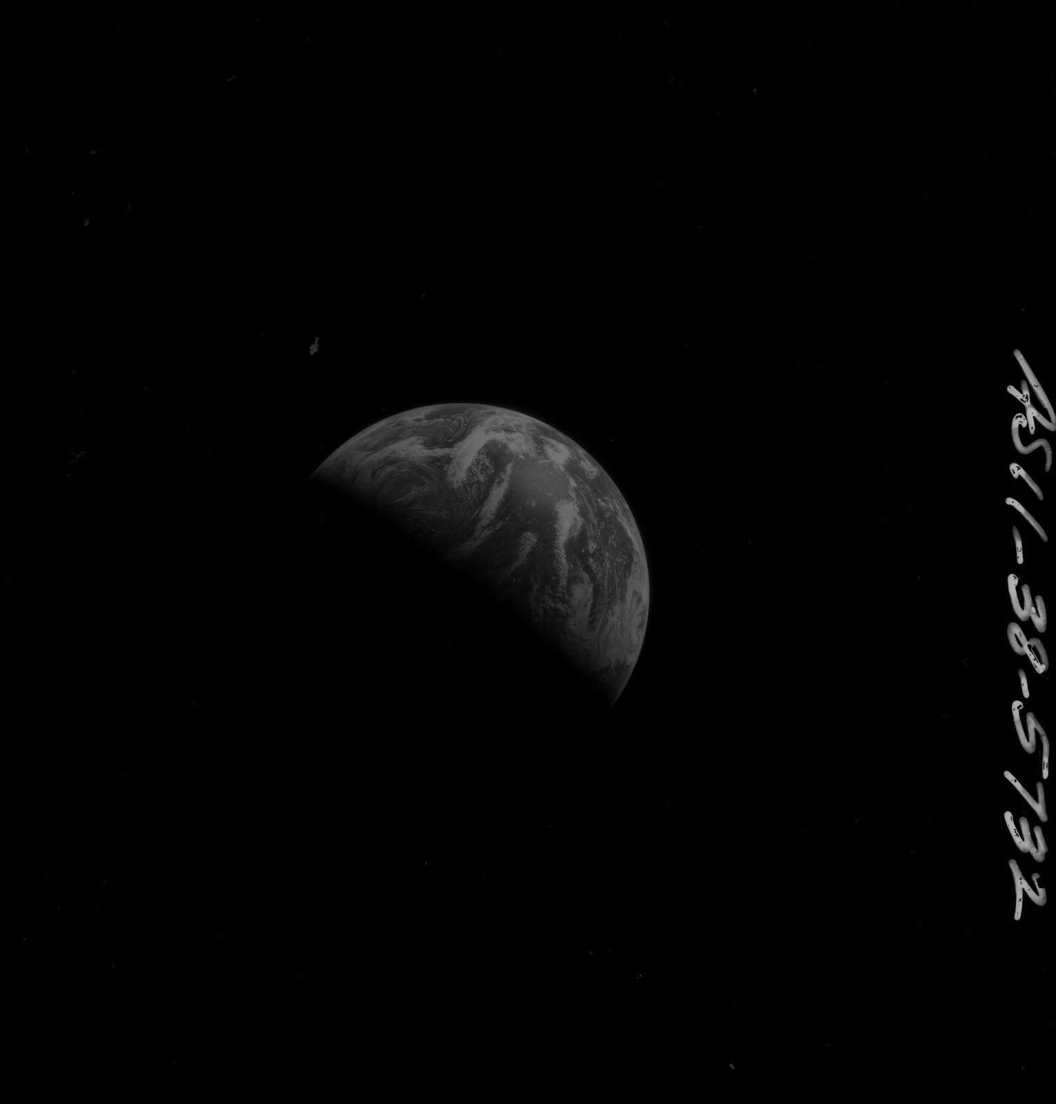 AS11-38-5732 - Apollo 11 - Apollo 11 Mission image - View of Earth after Transearth Insertion