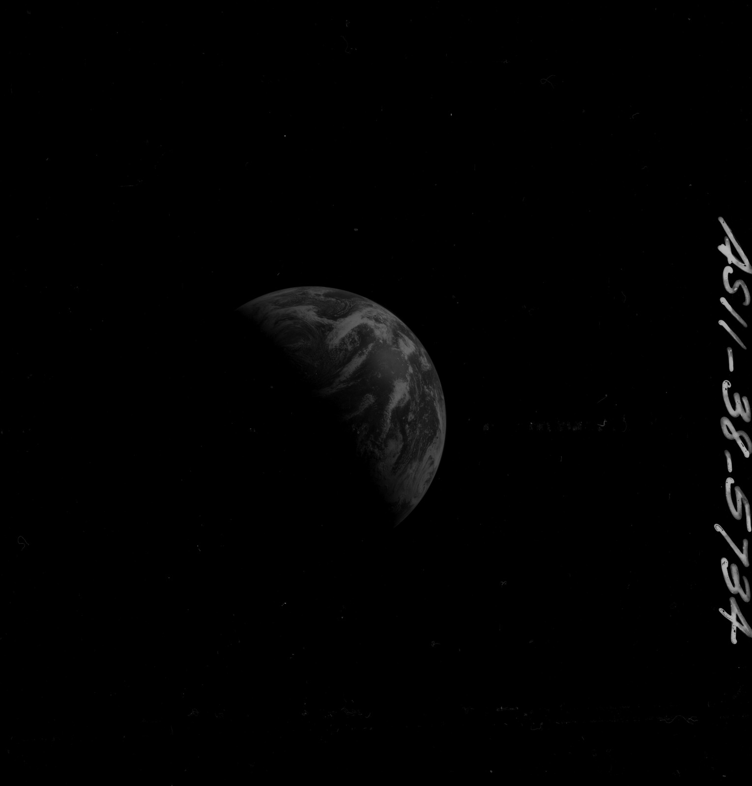 AS11-38-5734 - Apollo 11 - Apollo 11 Mission image - View of Earth after Transearth Insertion