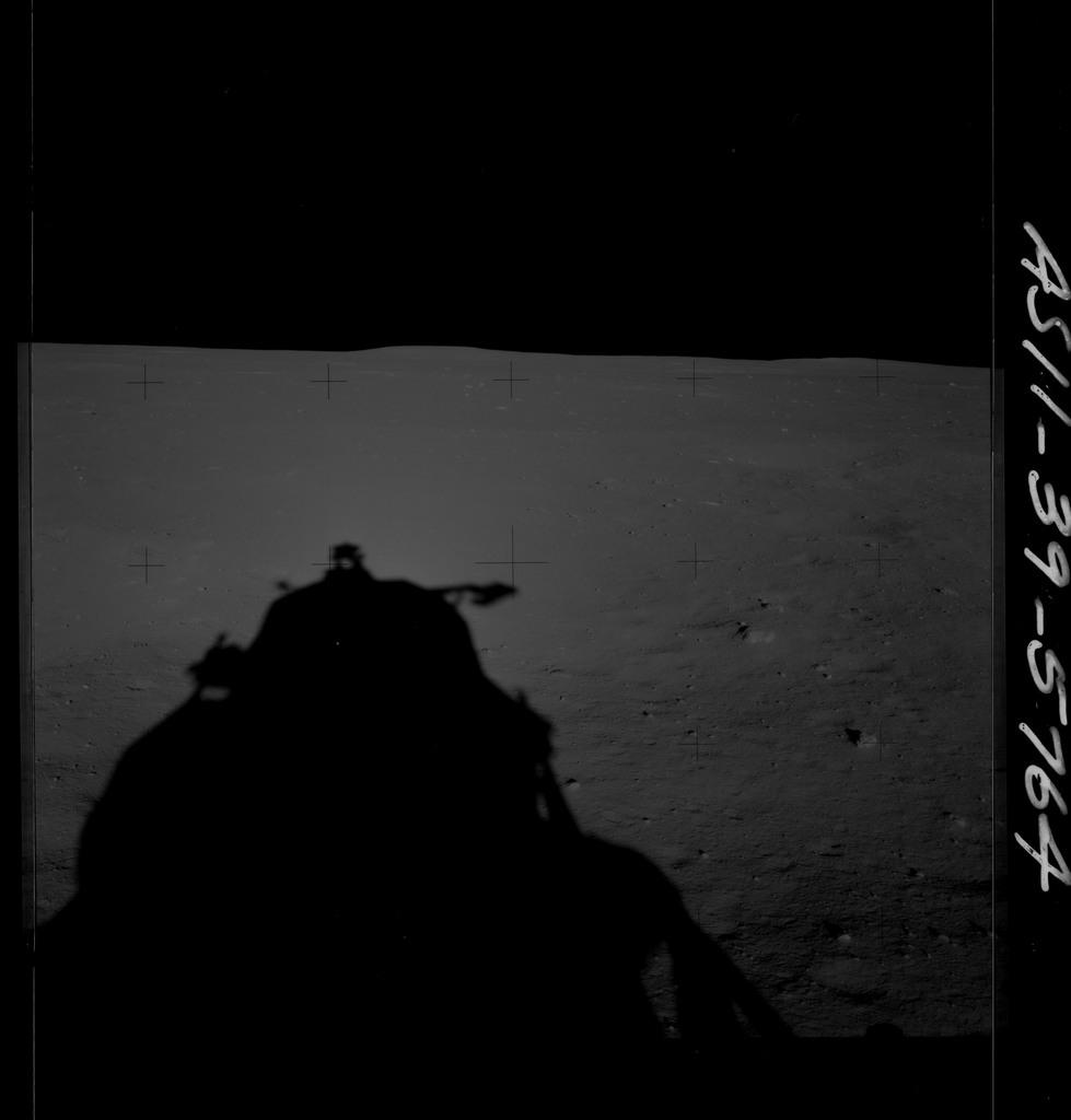 AS11-39-5764 - Apollo 11 - Apollo 11 Mission image - Shadow of Lunar Module on lunar surface