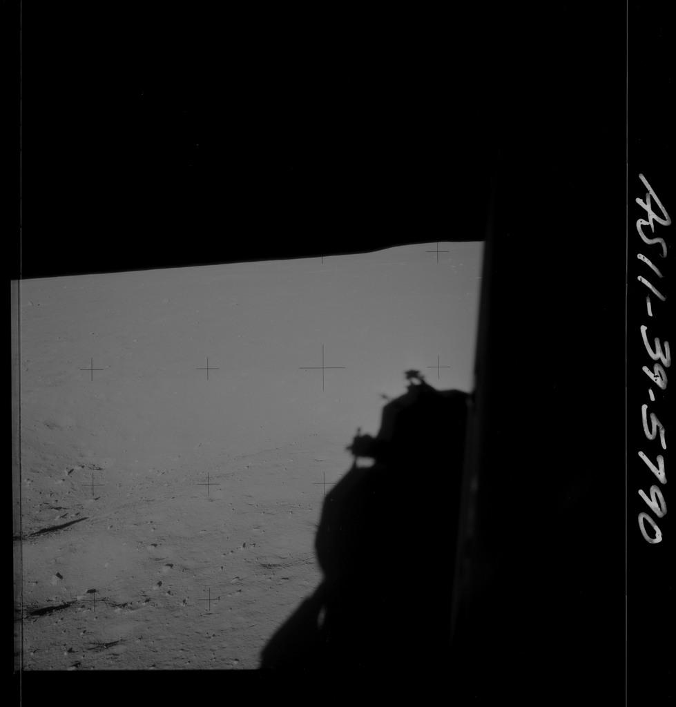 AS11-39-5790 - Apollo 11 - Apollo 11 Mission image - Shadow of Lunar Module on lunar surface