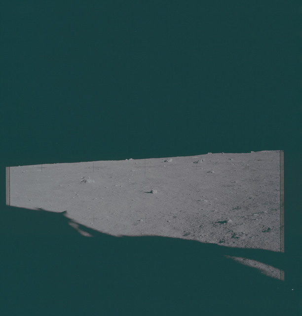 AS11-40-5855 - Apollo 11 - Apollo 11 Mission image - View of the lunar surface and horizon from Tranquility Base