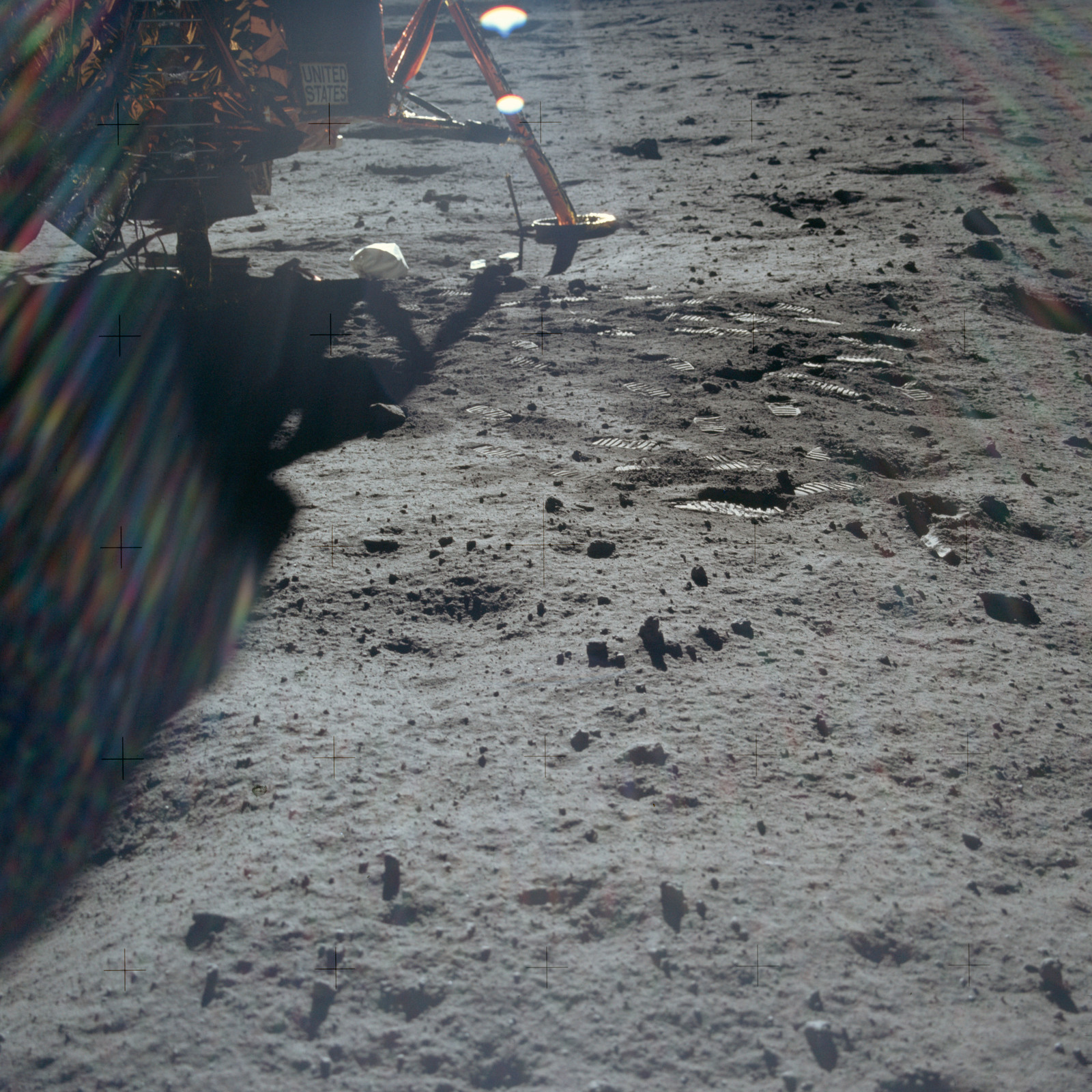 AS11-40-5887 - Apollo 11 - Apollo 11 Mission image -  Lunar surface near the  Lunar Module