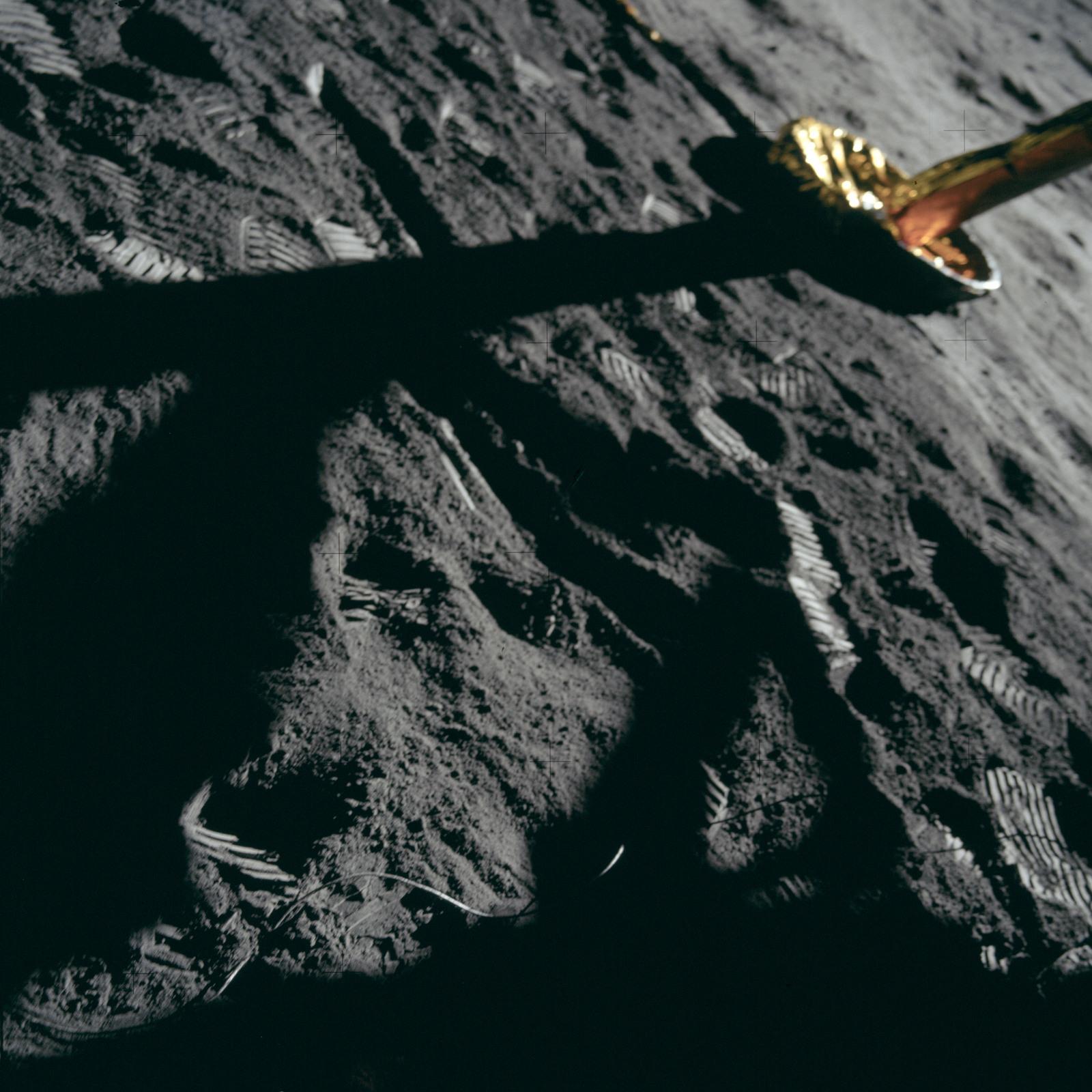 AS11-40-5901 - Apollo 11 - Apollo 11 Mission image -  Lunar surface and Lunar Module footpad