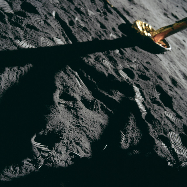 AS11-40-5901 - Apollo 11 - Apollo 11 Mission image -  Lunar surface and Lunar Module footpad