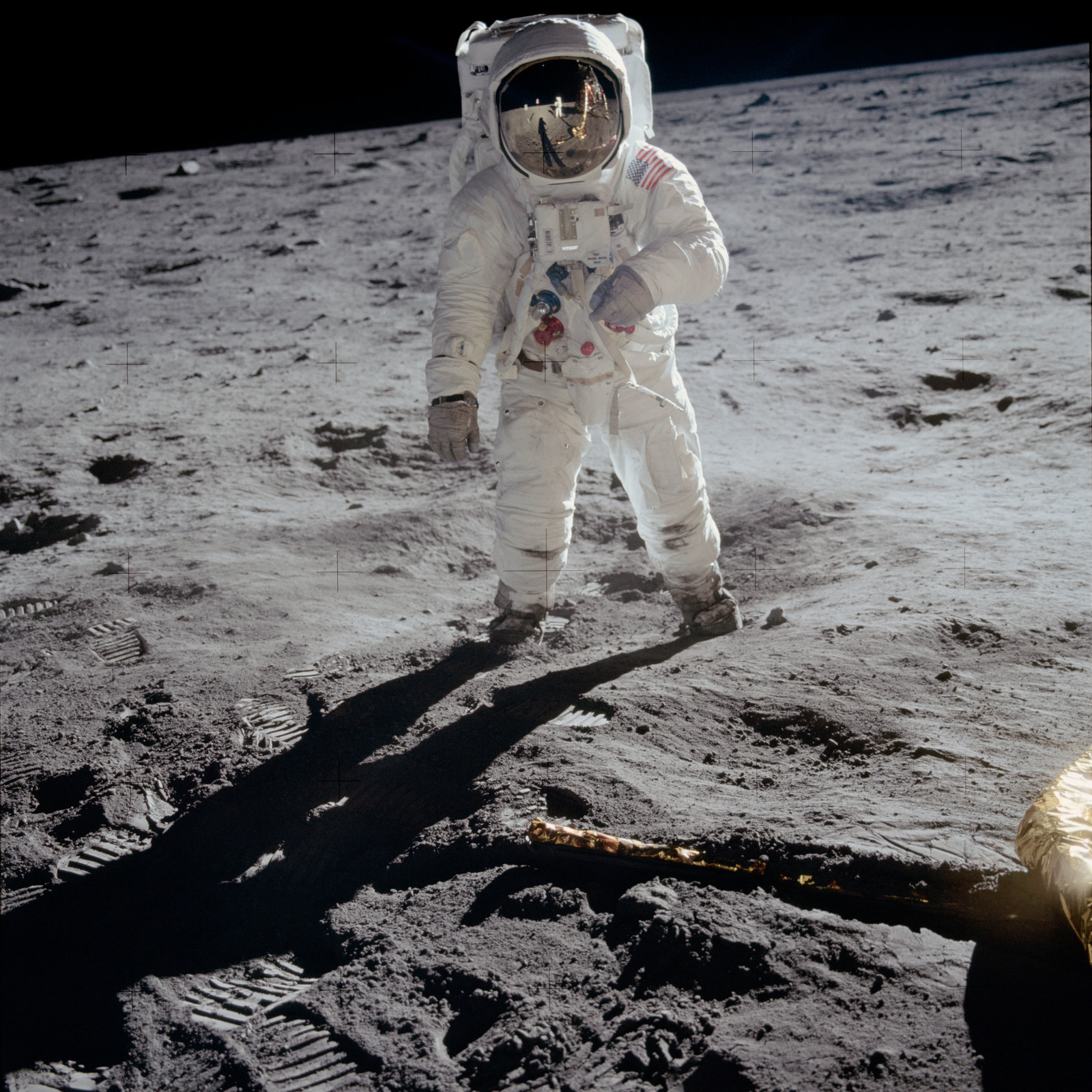 AS11-40-5903_alt - Apollo 11 - Apollo 11 Mission image -  Astronaut Edwin Aldrin walks near the Lunar Module