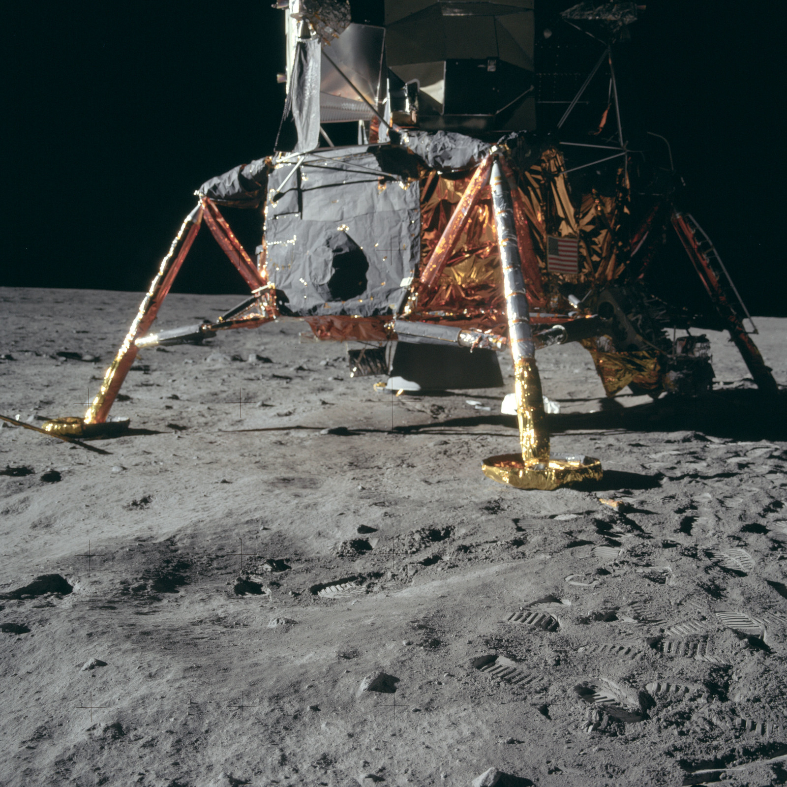 AS11-40-5915 - Apollo 11 - Apollo 11 Mission image -  Lunar surface and Lunar Module