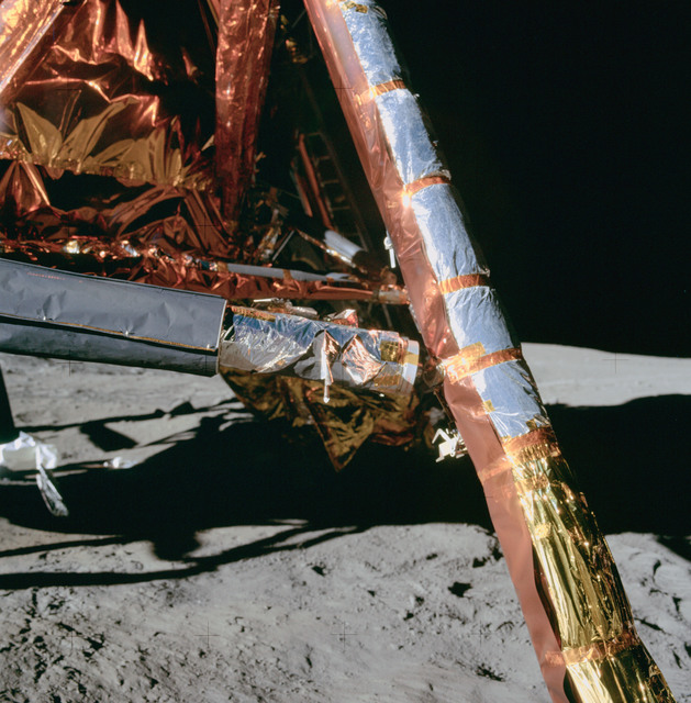 AS11-40-5919 - Apollo 11 - Apollo 11 Mission image - Lunar Module (LM) primary and secondary struts of the +Y footpad