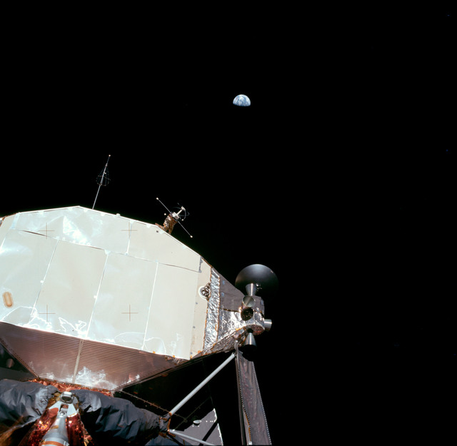 AS11-40-5923 - Apollo 11 - Apollo 11 Mission image -  Lunar Module and Earth
