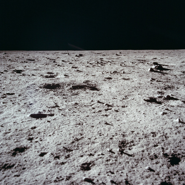 AS11-40-5937 - Apollo 11 - Apollo 11 Mission image - Lunar surface and horizon
