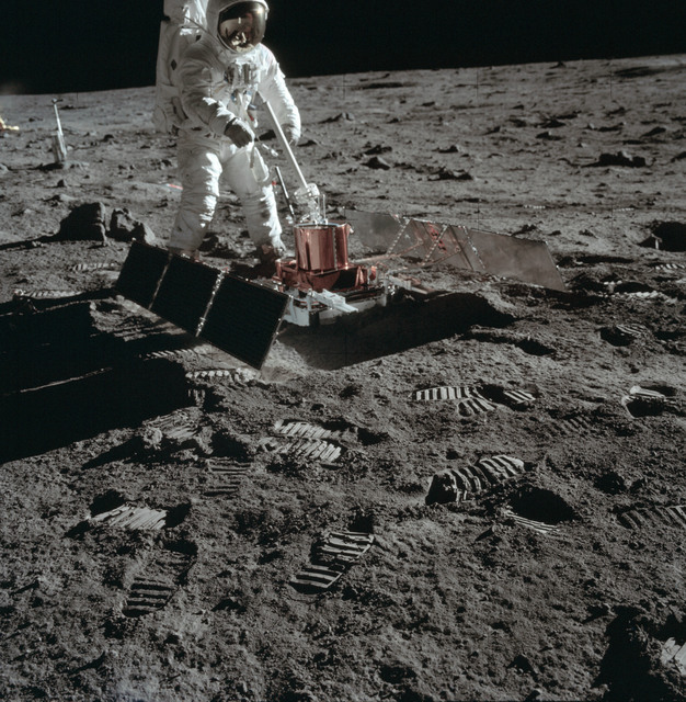 AS11-40-5951 - Apollo 11 - Apollo 11 Mission image - Astronaut Edwin Aldrin sets up the PSEP