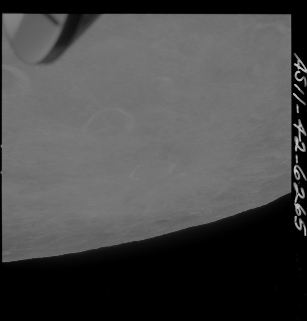 AS11-42-6265 - Apollo 11 - Apollo 11 Mission image - Crater 283 in foreground TO 43