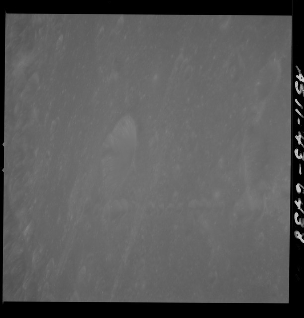 AS11-43-6438 - Apollo 11 - Apollo 11 Mission image - Moon, Crater IX between TO 30 and 34