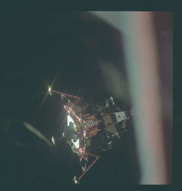 AS11-44-6575 - Apollo 11 - Apollo 11 Mission image - View of Lunar Module separation from the Command Module