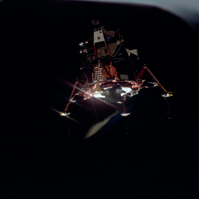 AS11-44-6576 - Apollo 11 - Apollo 11 Mission image - View of Lunar Module separation from the Command Module